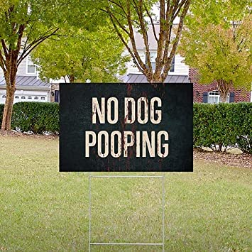 5-Pack Ghost Aged Rust Double-Sided Weather-Resistant Yard Sign CGSignLab No Dog Pooping 27x18