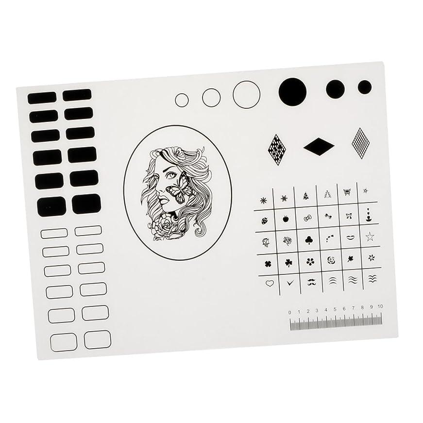 リズムセンブランス公使館Kesoto シリコーンスタンピングマット ネイルマット ネイルアートマット マニキュア ネイルステッカー 繰り返す可 初心者 40.5*30.5cm 2タイプ選べ - タイプ2