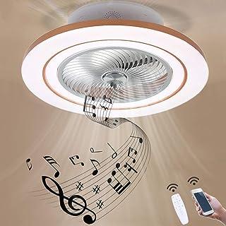 GUSICA Ventilador de Techo con Iluminación Dormitorio, Luz de Techo LED de Música Bluetooth, Silencioso Ventilador de 3 Velocidades con Control Remoto, Puede Temporizar, 96W, Ø 60cm