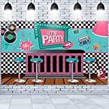 50's Soda Shop Banner Decoration Back to 50's Rocking Party Backdrop, Soda Shop Background Photography Photo Props for Studio Booth Supplies