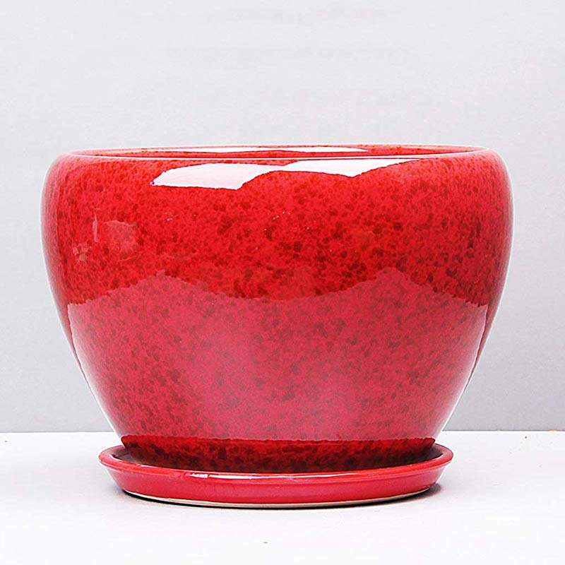CKH Simple Green Stalk Orchid Ceramic Potted Creative Home Absorbent Breathable Balcony Flower Pot Red Size L