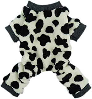 Fitwarm Adorable Milk Cows Pet Dog Clothes Comfy Velvet Winter Pajamas Coat Jumpsuit