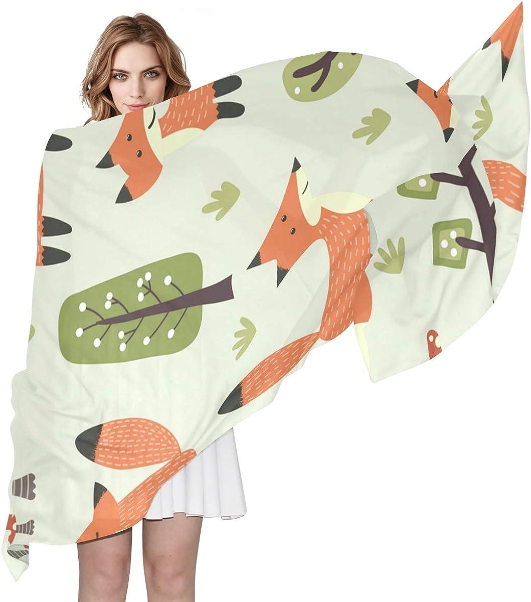 XLING Fashion Scarf Cute Animal Fox Tree Leaves Long Lightweight Sunscreen Scarf Shawl Wrap Muffler Neckerchief for Women Men