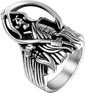 Anello Uomo Titanio Banda Di Ossa Intagliate Ogni Giorno, WLG, acciaio, taglia 8