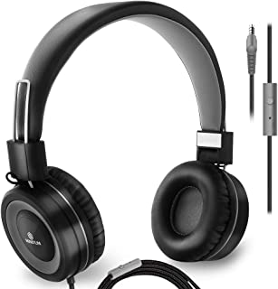 Headphones with Microphone Wired On Ear Stereo Bass Headphone for Computer, Tablet Ipad Cell Phones MP3 School, Comfortable Lightweight Folding Adjustable fit Tangle Free 1.5m Cord with 3.5mm Jack
