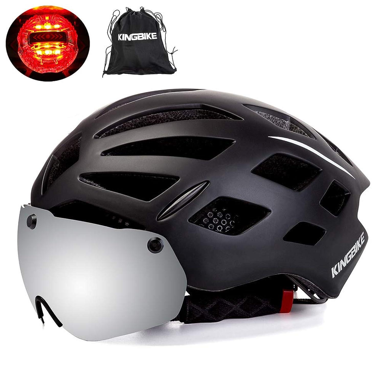 分布財政ぜいたくKINGBIKE DOT自転車用ヘルメット取り外し可能磁気シールド付きアイシールドゴーグル(100%UV400保護)+ヘルメットバックパックメンズレディース,3モードリアセーフティLEDライト,26通気孔,2サイズ M/L/XL(56-63CM)(CPSC認証済み)