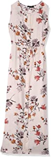 Andiamo Floral Pattern Waist Tie Front Buttons Sleeveless Round Neck Viscose Dress for Women S