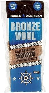 Bronze Wool, 3 pad, Medium Grade, Rhodes American, Household, Marine and Industrial Use