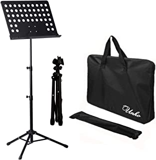 UNHO Sheet Music Stand Professional Folding Conductor Orchestral Sheet Stand Music Holder Portable Metal Books Holder with...