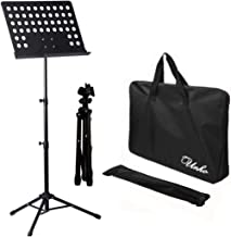 UNHO Sheet Music Stand Professional Folding Conductor Orchestral Sheet Stand Music Holder Portable Metal Books Holder with Carry Bag Height Adjustable Black