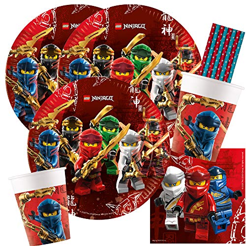 spielum 44-teiliges Party-Set Lego Ninjago - Teller Becher Servietten Papiertrinkhalme für 8 Kinder
