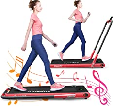 GYMAX Folding Treadmill, Electric Running Machine with Blue-Teeth & LED Screen, Portable Under-Desk Walking Machine for Home, Office, Gym
