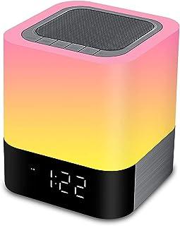 $36 » Night Light Bluetooth Speaker,Alarm Clock Bluetooth Speaker,Touch Sensor Bedside Lamp Dimmable Multicolour Changing LED Ta...