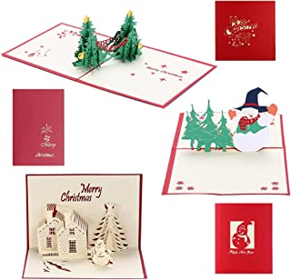3D Christmas Cards Pop Up Holiday Greeting Card for Xmas/Thanksgiving/New Year - 1 Christmas Tree Card, 1 Christmas Castle Card, 1 Snowman Card & 3 Envelopes (Xmas Card 3 Pack)