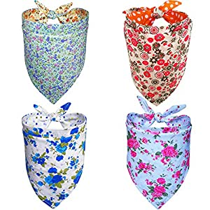 DOGSAYS Dog Bandanas 4PCS Triangle BibsScarf Kerchief Accessories for Small Medium Large Dogs Reversible Patterns Printed Neckerchief Set for Girl Dogs Pet