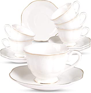 Porcelain Mini Espresso Cups and Saucers Set - 2.8oz Ceramic Coffee Cup Set New Bone China Tea Cups with Golden Edge Embossed Floral for Man and Woman, Set of 6