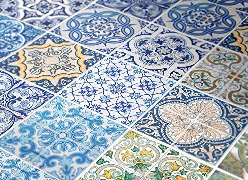 Moonwallstickers.Com N2 - Adesivi Decorativi da Parete per Scale, Motivo: Piastrelle portoghesi (Confezione da 24)