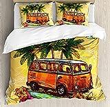 Juego de funda de edredón para surf, diseño de autobús clásico con tabla de surf Freedom Holiday Exotic Life Sketchy Art, juego de cama decorativo de 3 piezas con 2 almohadas, amarillo y naranja