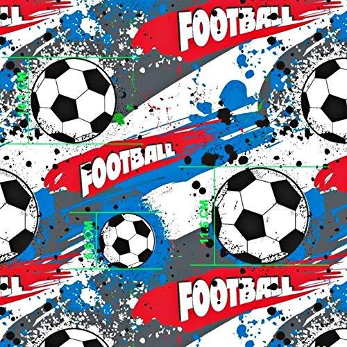 Pingianer - Tela de algodón a rayas para niños, 100 % algodón, por metros, artesanía, tela de costura, diseño de balón de fútbol, Balón de fútbol azul., 100x160cm (11,99€)