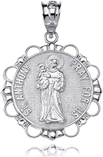 Sterling Silver Round Saint Anthony Patron of Lost Articles Catholic Medal Pendant