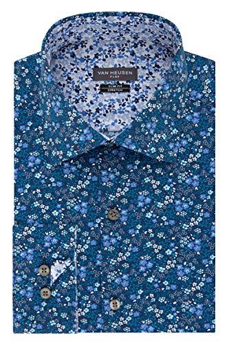 Van Heusen Men's Dress Shirt Flex Collar Stretch Slim Fit Print, Riviera Blue, 16.5' Neck 34'-35' Sleeve (Large)