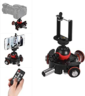Andoer Mini Motorized Video Slider Track Dolly Rail Tabletop 3-Wheel Pulley Car Skater with Swivel Ball Head/Phone Clip/Remote Control for DSLR Camera Camcorder for iPhone X 8 7