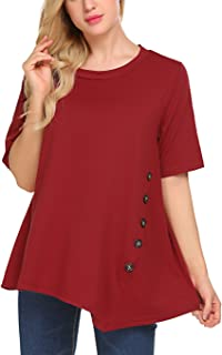 Sweetnight Women's Casual O-Neck Short Sleeve Solid Asymmetrical Pleated T-Shirt Blouse Top Plus Size (XXL Wine Red)