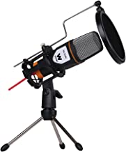 Woxter Mic Studio - Micrófono de condensación (filtro pop killer, trípode incluido, conexión 3.5mm, compatible con Youtube, Skype, Twitch), negro