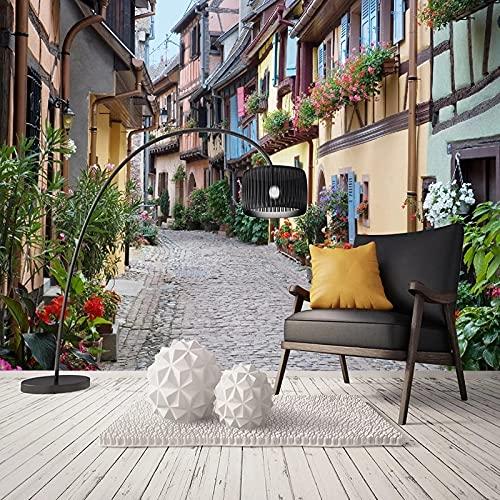 Papel Tapiz 3D Calle Europea Retro Ciudad Paisaje Foto Mural Sala De Estar Café Restaurante Telón De Fondo Decoración Fondo De Arte De Pared Wallpaper 350X256Cm