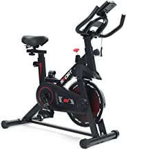 Doormat Stationary Bike Exercise, Belt Drive Indoor Cycling Bike for Home Cardio Workout Bike Heavy Duty Flywheel Bicycles