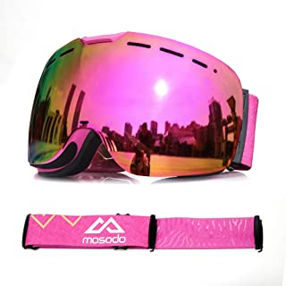MOSODO Ski Goggles 2019,Snow Goggles,OTG Goggles Snowboard Goggles with UV400 Protection, Anti-Scratch Anti-Fog, Full REVO Mirror Lens, Triple Breathable Foams Universally Fit for Men, Women & Youth