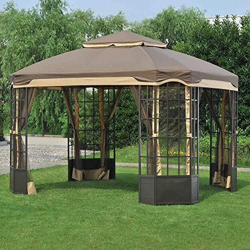 Sunjoy 110109138 Original Replacement Canopy for Bay Window Gazebo Easy Set Up (10X12 Ft) L-GZ120PST-2L Sold at Sears, Light Brown