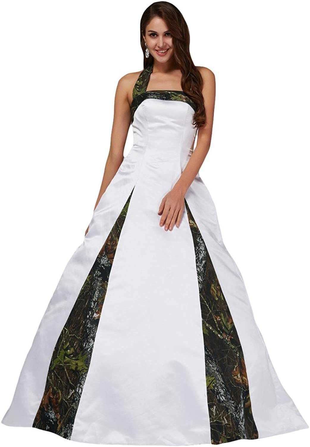 MILANO BRIDE Unique Ball Gown Halter Camo Wedding Party Dress Prom Gown for Women
