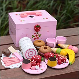 Play Food, Wooden Kids Play Food, Afternoon Tea Strawberry Simulation Cake Pretend Play Food for Pretend Role Playing Chri...