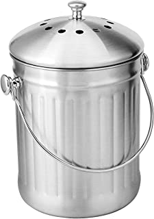 KizmetKare Stainless Steel Kitchen Countertop Compost Bin with Lid- 1.32 Gallon Compost Bucket with 2 Charcoal Filters, Ho...