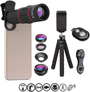 Apexel Mobile Photo Camera Set-Flexible Phone Tripod+Remote Shutter+4 in 1 Lens Kit-High Power 18x Monocular Telephoto Lens, Fisheye Lens, Macro and Wide Angle Lens for All Smartphones Apple Samsung