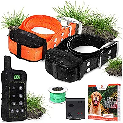 Pet Control HQ Dog Containment System Wireless Perimeter w/ 2 Shock Collar Kit & Remote - Electric Proximity Fence - Above Ground No Digging, or Underground Wire Outdoor Confinement Trainer