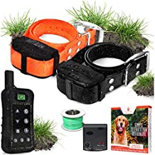 Pet Control HQ Dog Containment System Wireless Perimeter w/ (1 or 2) Shock Collar Kit & Remote - Electric Proximity Fence - Above Ground No Digging, or Underground Wire Outdoor (2 Collars with Remote)