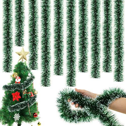 WILLBOND 6,6 Piedi Ghirlanda Tinsel di Natale Ghirlanda di Twist Ornamenti Lucidi Classici dell'Albero di Natale per Decorazioni da Soffitto Sospese per Feste (Verde Nerastro, 5)
