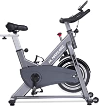 MaxKare Magnetic Exercise Bike Stationary Bike Belt Drive Indoor Cycling Bike Gym Level with High Weight Capacity Adjustable Magnetic Resistance w/Tablet Holder LCD Monitor (Gray