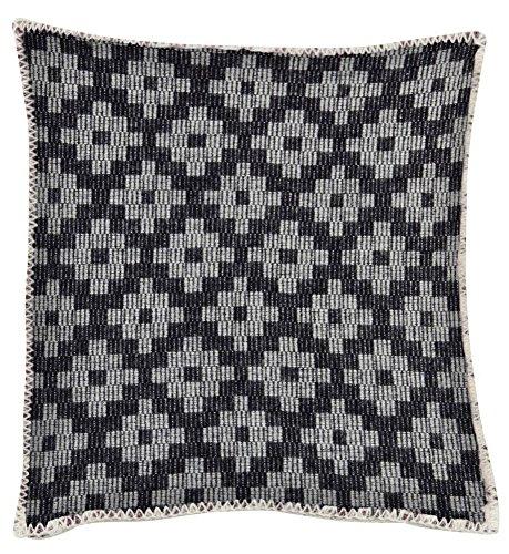 KLIPPAN: Schwarz-grau gemusterte Kissenhülle 'Marrakesch', 100% Lambswool, 45x45cm