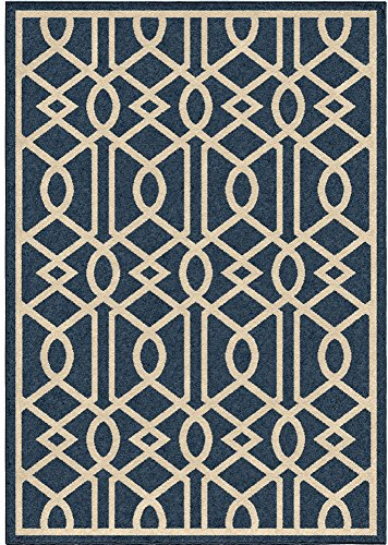 "Orian Rugs Indoor/Outdoor Trellis Barcelona Blue Area Rug (5'2"" x 7'6"")"