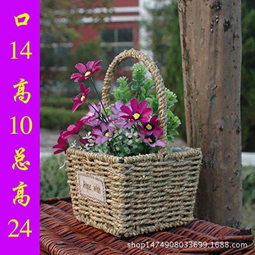 ZHFC-l'artisanat liubian panier panier rotin tressage pot de fleur européenne ameublement de maison ornements de jardin,Haute 17cm 17cm.