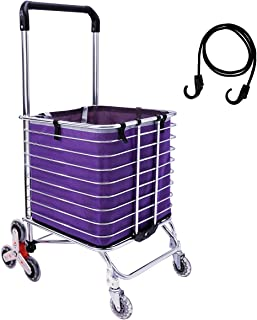 KEDSUM Upgrade Large Size Folding Shopping Cart with Stair Climbing Tri-Wheels, 120 Lbs Capacity, Grocery Utility Rolling Cart with Durable Handle, Removable Bag