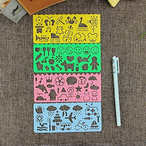 4 stuks schattig tekening sjabloon liniaal ontwerp gereedschap briefpapier voor studenten schilderen benodigdheden creatief geschenk,