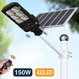 150W Motion Sensor Solar Street Lights Outdoor Lamp, Dusk to Dawn Wall Mount Security Light with Remote Control, 432 LED, Waterproof, for Street, Road, Yard and Pathway (Cool White)