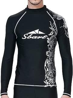 LINGMIN Men's Long Sleeve Print Rash Guard - Surfing Beach Sports Baselayer Top Compression UV Protection Swimwear