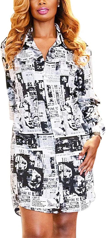 Aro Lora Women's Long Sleeve Floral Print Button Down Collar Long Shirt Dress Blouse Top Mini Dress