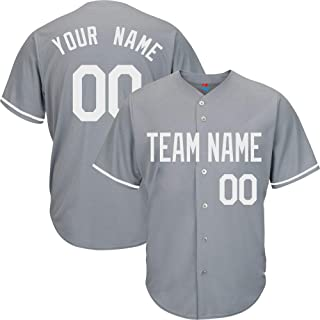 Gray Custom Baseball Jersey for Men Women Youth Button Down Embroidered Team Player Name & Numbers S-8XL - Design Your Own
