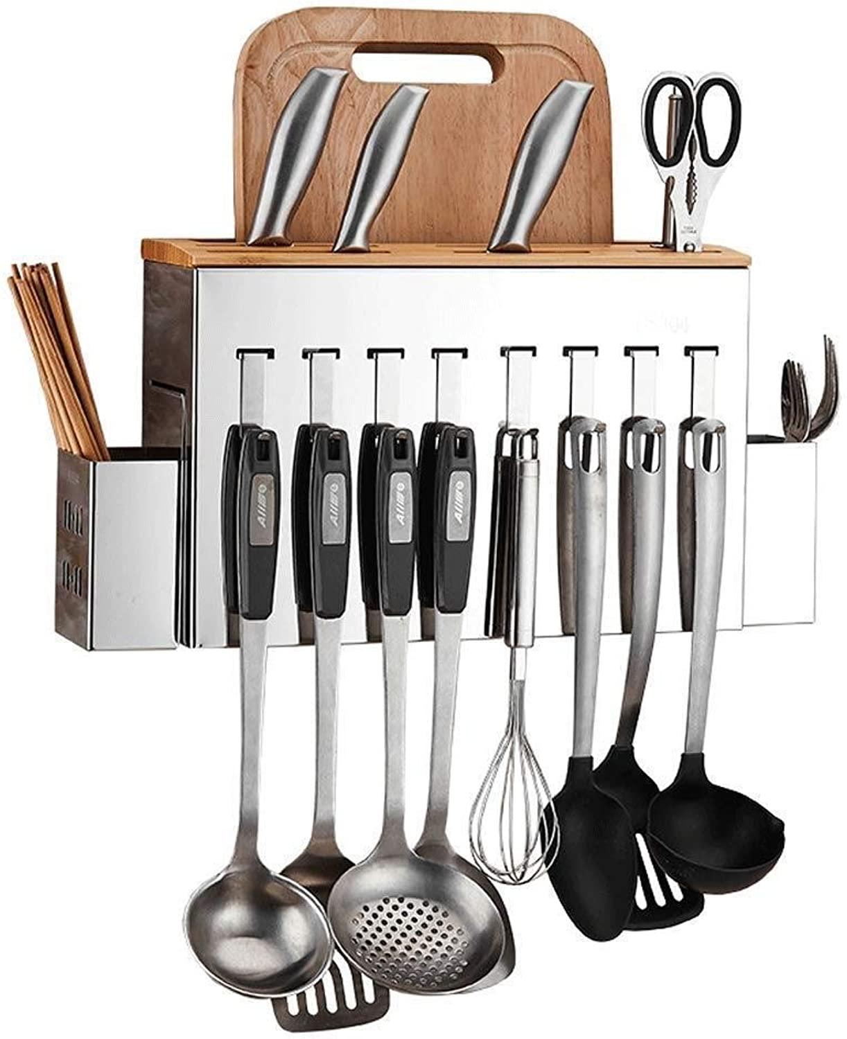 Organizer Rack Knife Holder- 304 Stainless Steel Punch-Free Kitchen Rack Wall-Mounted Tool Case Chopping Board Kitchen Knife Storage Supplies Knife Holder ZXMDMZ